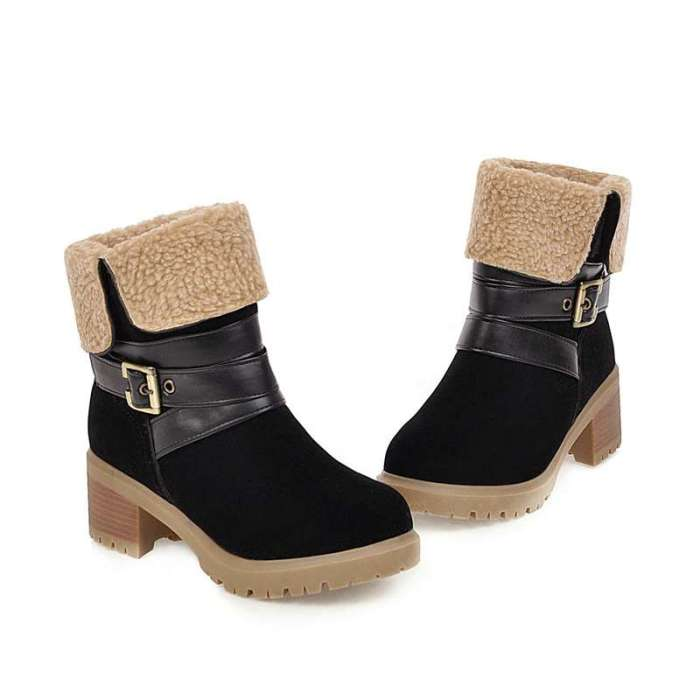 Womens winter shoes ankle boots faux suede leather boot warm thick fur square heels footewar bottes botas big size 46