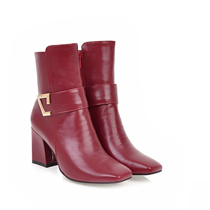 Oversized  10 11 12 boots women shoes ankle boots for women ladies boots Side zipper metal trim square head