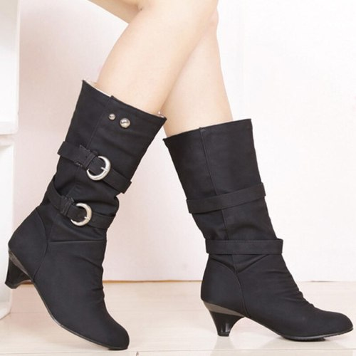 Big Size 34-43  Autumn Winter PU Leather Buckle Chunky Heels Mid Calf Boots Hot Sale Round Toe Slip on Casual Women Shoe