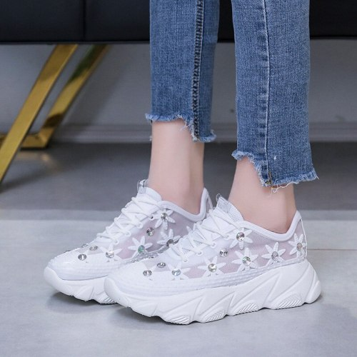 New Mesh Rhinestone Platform Muffin Wedge Hollow-out Lace up Daddy Shoes Sneakers White Shoes Women's Shoes
