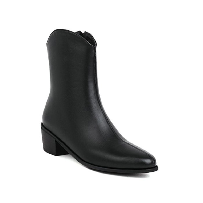 2021 PU Solid Black Winter Pointed Toe Goth Boots Winter Shoes For Women Mid-calf Riding Motorcycle Woman Boots