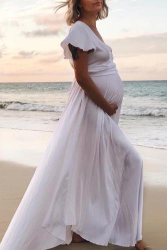 Maternity V-neck ruffled long dress