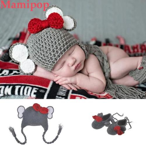 Elephant long braid hat and Shoes gray Set Knitted Newborn photography Photo