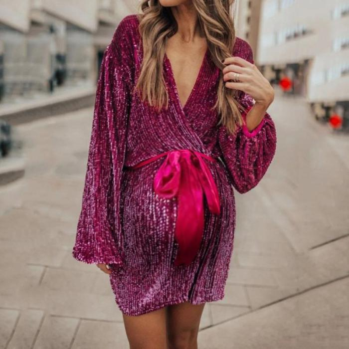 Maternity Sweet V-neck solid color long sleeve lace dress