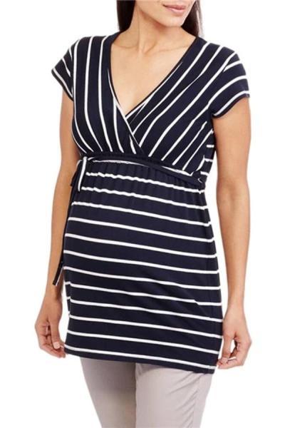 Maternity Fashion Short Sleeve Striped Tee Shirt
