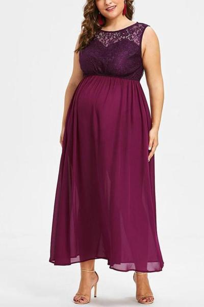 Maternity Sleeveless Party Lace Chiffon Dress