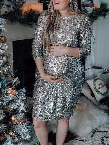 Maternity Fashion Christmas Sequin Party Dress