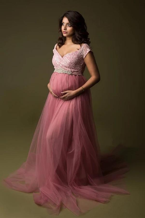 Maternity Photography Long Tulle Dress Summer