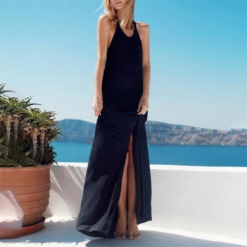 Maternity Elegant Solid Color Split Backless Beach Dress