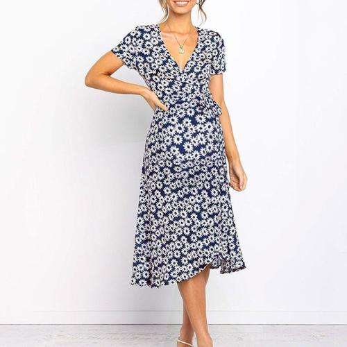 Maternity Sweet V Neck Short Sleeve Printed Colour Dress