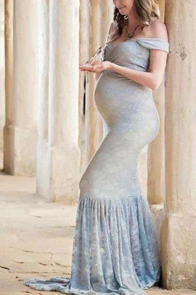 Maternity Elegant Ruffled Off Shoulder Dress