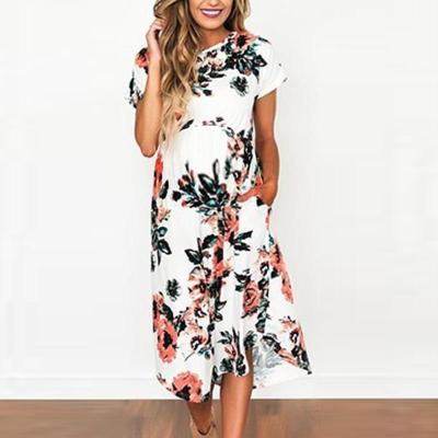 Maternity Vintage Round Neck Short Sleeve Printed Colour Splicing Dress