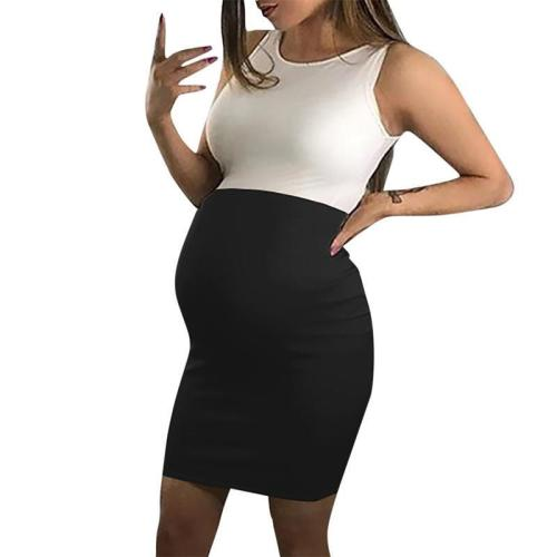 Maternity O-Neck Color Block Casual Dress