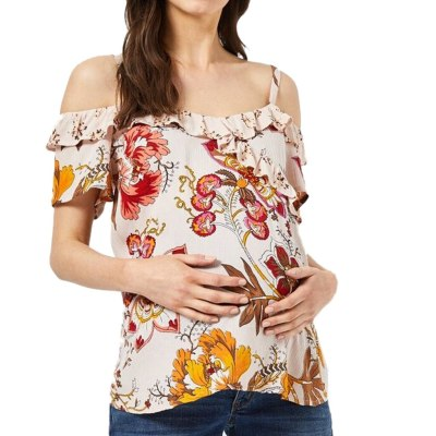 Nursing Top Women Summer Floral Print Elegant Ruffles Strap Baby Showers T-shirt