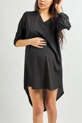 Maternity Chiffon Asymmetric Hem Plain Shift Casual Dresses