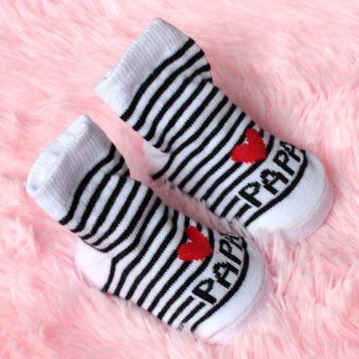 New Baby Infant Boy Girl Socks Stripe Slip-resistant Floor Love Mama Papa Letter Socks Socks
