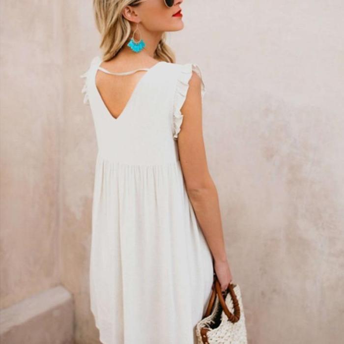 Maternity Printed Loose Sleeveless High Waist Dress