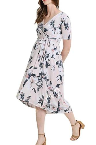 2020 new V collar printing belt long dress pregnant women's dress