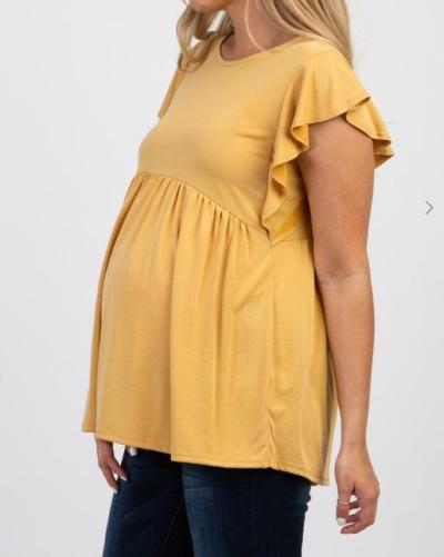 Round-neckfly-sleeve Pregnant Women's Wear Short-sleeved T-shirt Pregnant Top