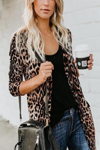Maternity Leopard Print Long Sleeve Cardigan