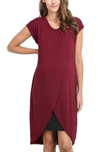 Tunic Casual Solid Vest Nursing Feeding Maternity  Dress