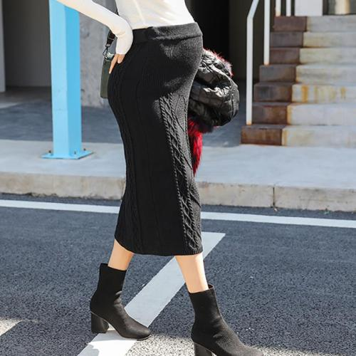 Maternity Casual Twist Stomach Lift Solid Color Knitted Skirt