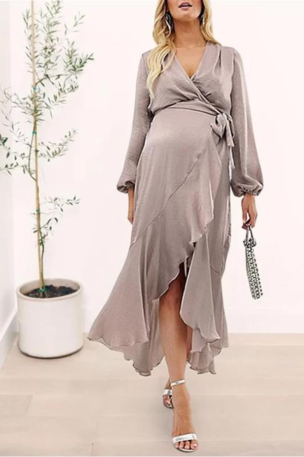 Maternity Casual Long Sleeve Pure Colour Ruffled Belted Dress