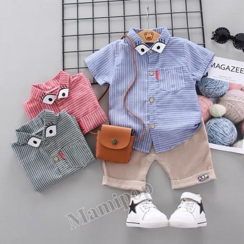 Baby summer new baby children striped lapel shirt short sleeve  two sets