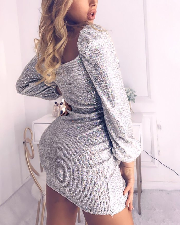 Maternity Shiny Padded Shoulder Sleeve Dresses
