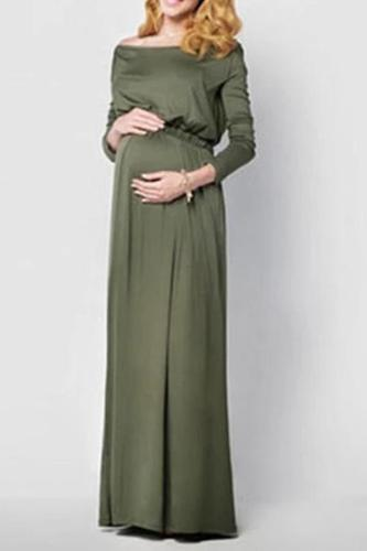 Maternity Casual Pure Color Long Sleeve Dress
