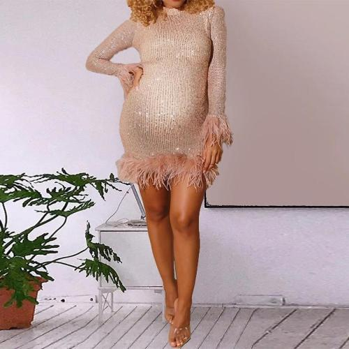 Maternity sequin tassel long sleeve dress