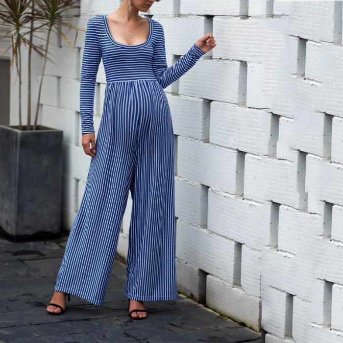 Maternity Sexy Wide Leg Long Sleeve Striped Jumpsuit