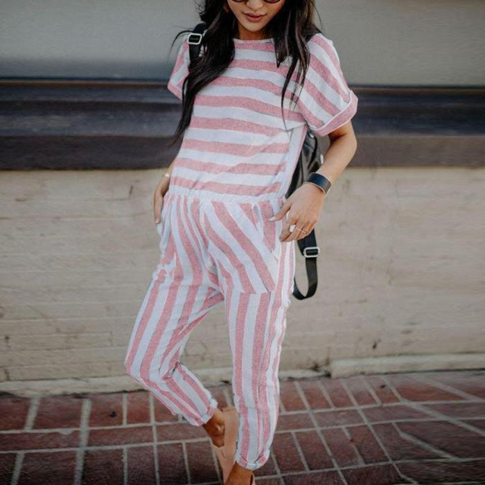 Maternity Casual Striped Short Sleeve Jumpsuit