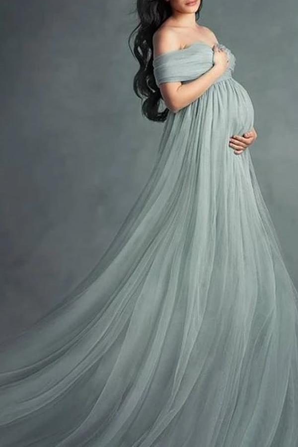 Maternity Off Shoulder Short Sleeve Full Length Dress