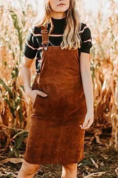 Maternity Stylish solid color pocket sleeveless skirt