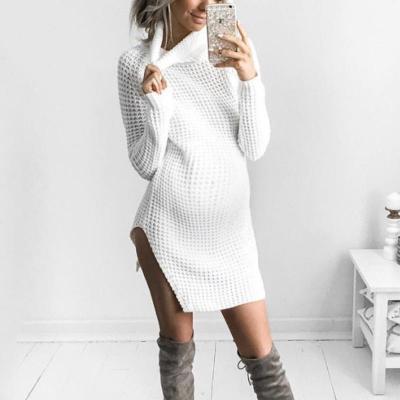 Maternity Solid Color Split Turtleneck Sweater