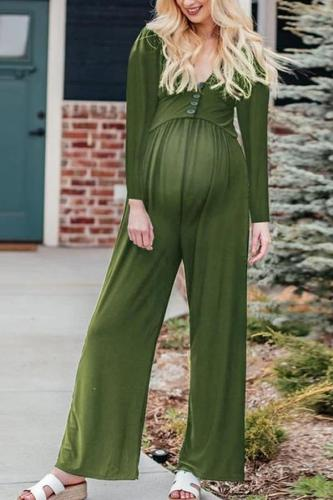 Maternity Solid Color Button Long Sleeve Jumpsuit