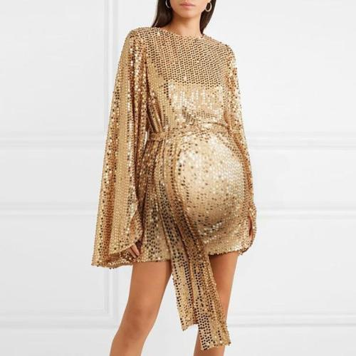 Maternity Fashion Elegant Flare Sleeve Dress