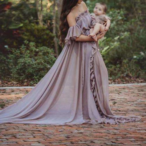 Maternity Shoulder Out Flounce Floor-length Dress