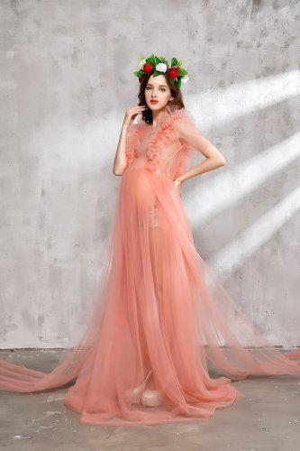 Maternity Champagne Lace Maxi Dress