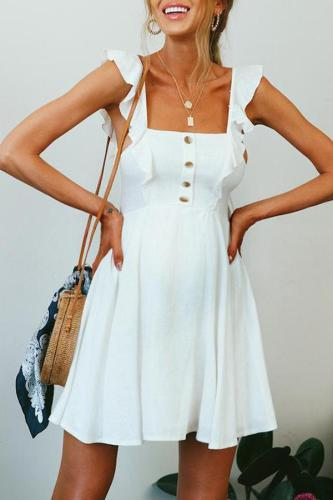 Maternity Fashion Bare Back Sleeveless Pure Colour Dress