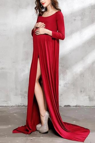 Maternity High Slit Pure Color Long Sleeve Dress