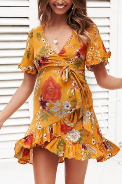 Maternity V-neck short-sleeved print dress