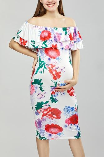 Maternity Open Shoulder Floral Bodycon Dress