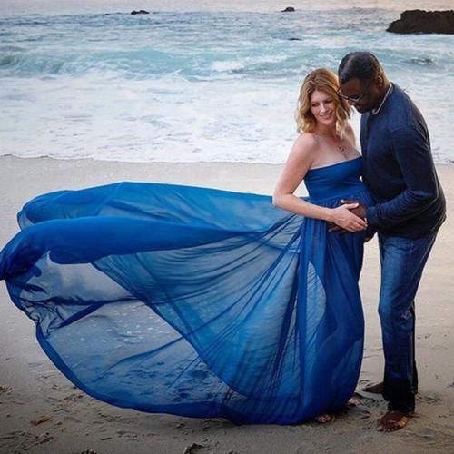 Maternity Casual Boat Neck Sleeveless Pure Colour Dress