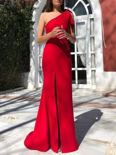 Maternity Elegant Sleeveless Pure Colour Sloping Shoulder Dress