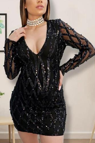 Maternity Deep V Skinny Sexy Sequin Dress