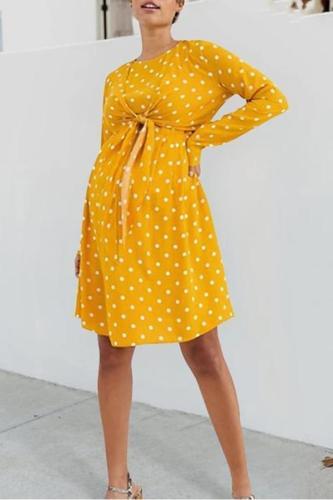 Maternity Casual Round Neck Long Sleeve Polka Dot Mini Dress