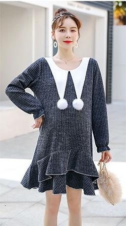 Maternity Dresses Winter Pregnant Women Sweater Dress