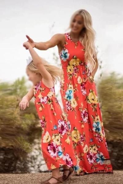Mom Girl Floral Printed Sleeveless Matching Dress